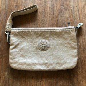 Kipling Soft Gold Metallic Wristlet